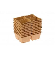 Бумажные горшки для рассады 10 штук по 4 ячейки